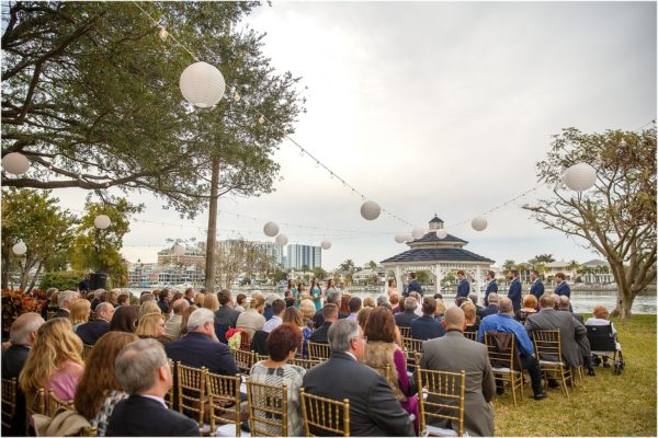 Davis Island Garden Club Outdoor Wedding- Gold Chiavari Chairs with Ivory Pads-Wedding Ceremony-A Chair Affair