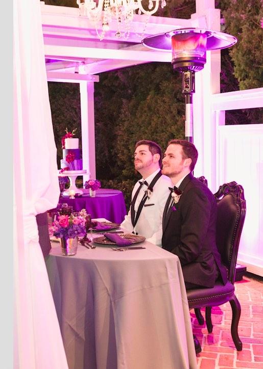 Rafael and Matt winter Cypress Grove Estate Wedding LGBT Wedding A Chair Affair newlyweds in black dynasty chairs Captured by Elle