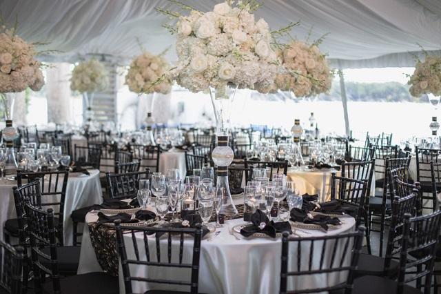Private Home Engagement Party-gold belmont chargers-black chiavari chairs-a chair affair
