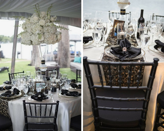 Private Home Engagement Party-tall centerpiece-black chiavari chairs-gold belmont chargers-a chair affair