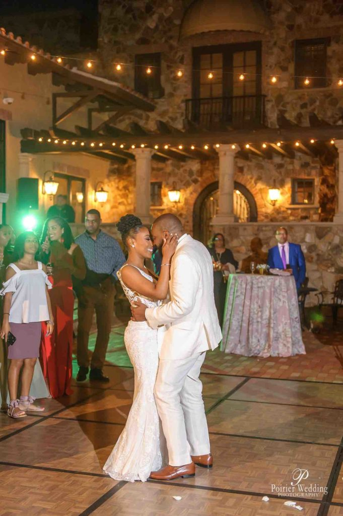 Valisha and Philip Pastel and Gold Bella Collina Wedding A Chair Affair Mahogany Dance Floor First Dance