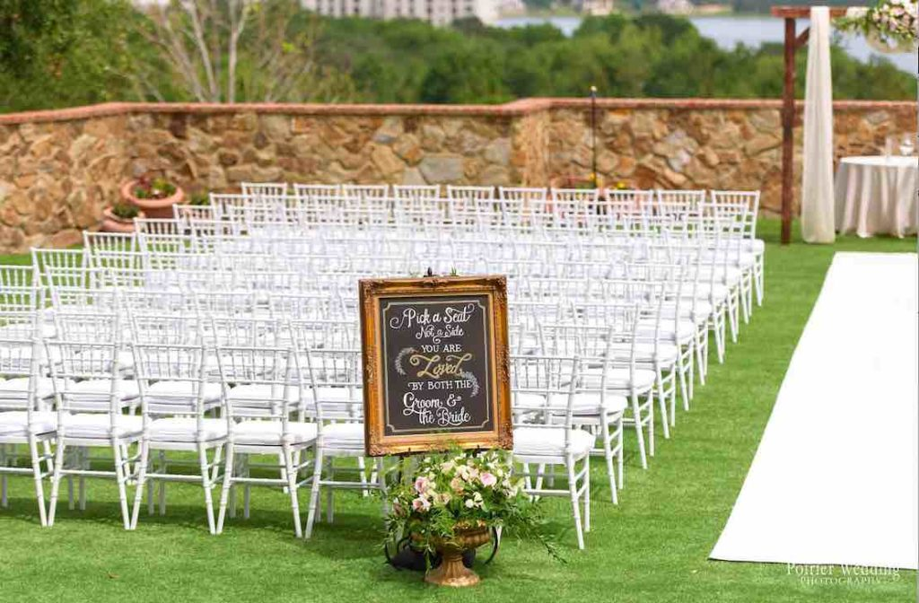 Valisha and Philip Pastel and Gold Bella Collina Wedding A Chair Affair White Chiavari Chairs at ceremony