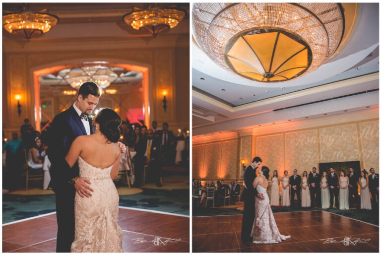 Cream and champagne Orlando wedding Omni Resort at Championsgate Brandon Kari Productions A Chair Affair gold Chiavari chairs first dance