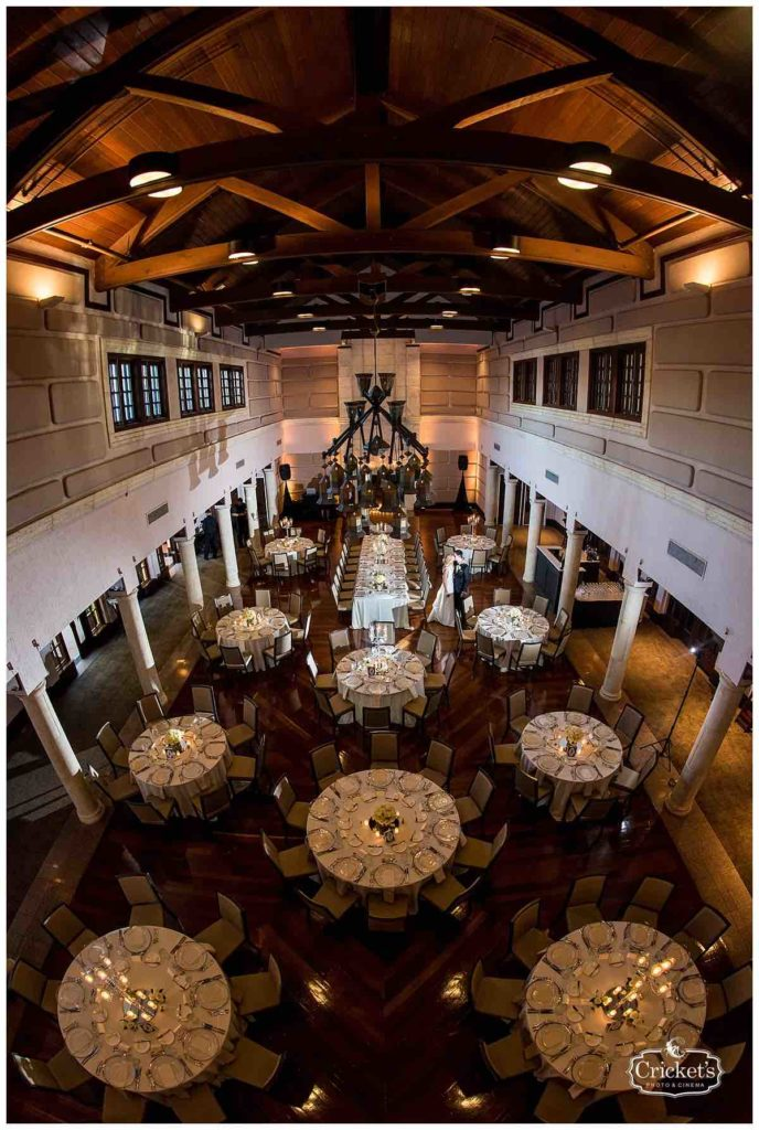 Isleworth Country Club Wedding Classic White Wedding Crickets Photo A Chair Affair Couple Gold Rimmed Chargers view from the top