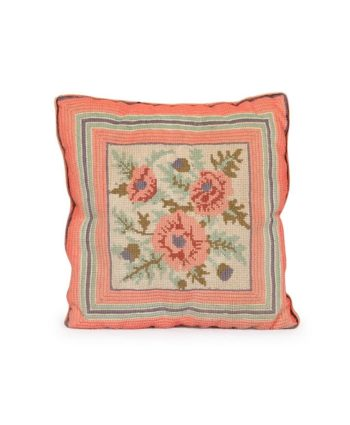 Pink Rose Needlepoint Pillow - A Chair Affair Rentals