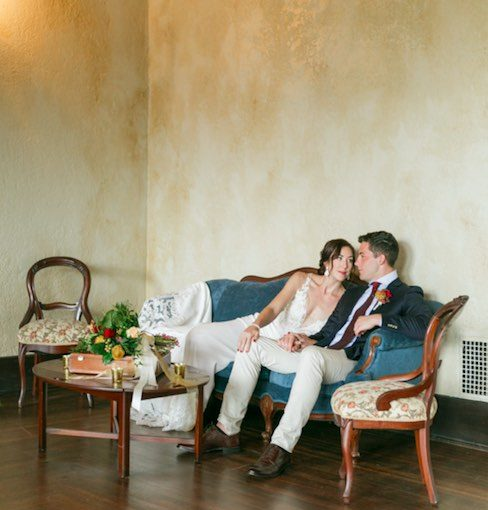 vintage-inspired wedding photoshoot at Howey Mansion