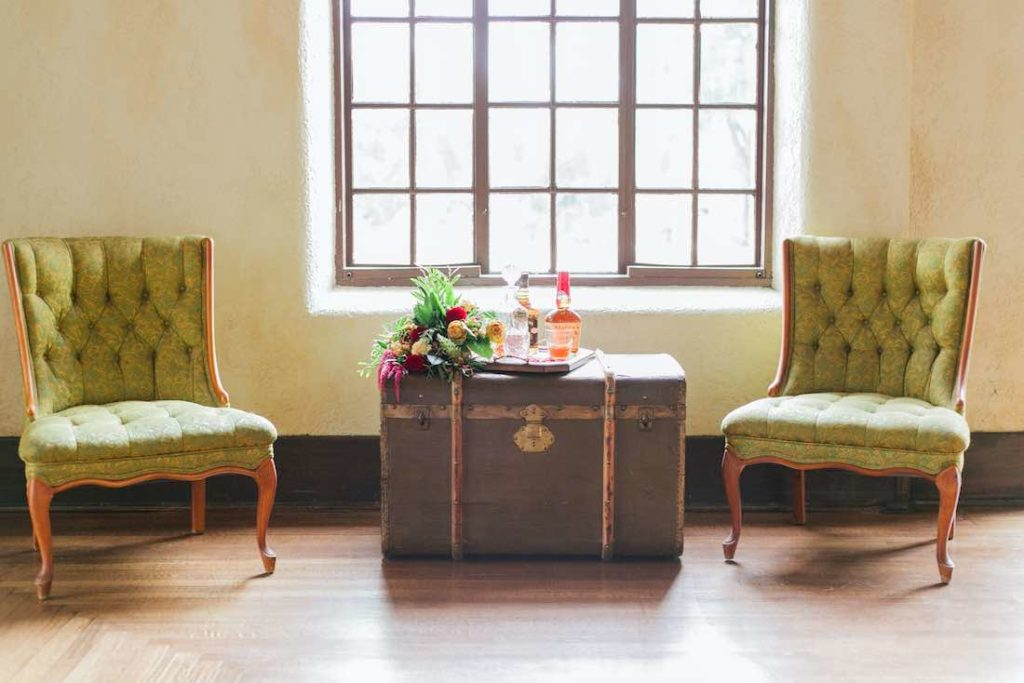 Lounge Furniture, vintage-inspired wedding photoshoot at Howey Mansion