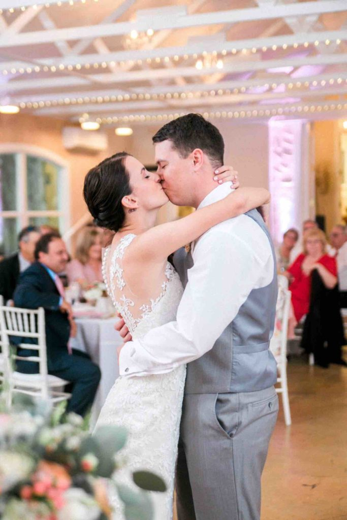 The Banyan Estate Blush and Ivory Wedding Flora Bloom Photography A Chair Affair white Chiavari chairs with white pads First Dance