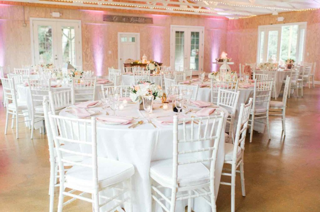 The Banyan Estate Blush and Ivory Wedding Flora Bloom Photography A Chair Affair white Chiavari chairs with white pads and gold rimmed stemware