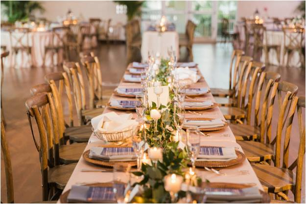 st pete beach community center wedding a chair affair french country chairs wicker chargers gold flatware