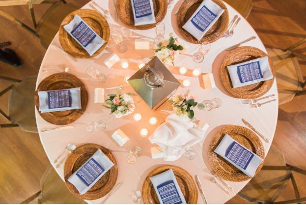 st pete beach community center wedding a chair affair wicker chargers gold flatware