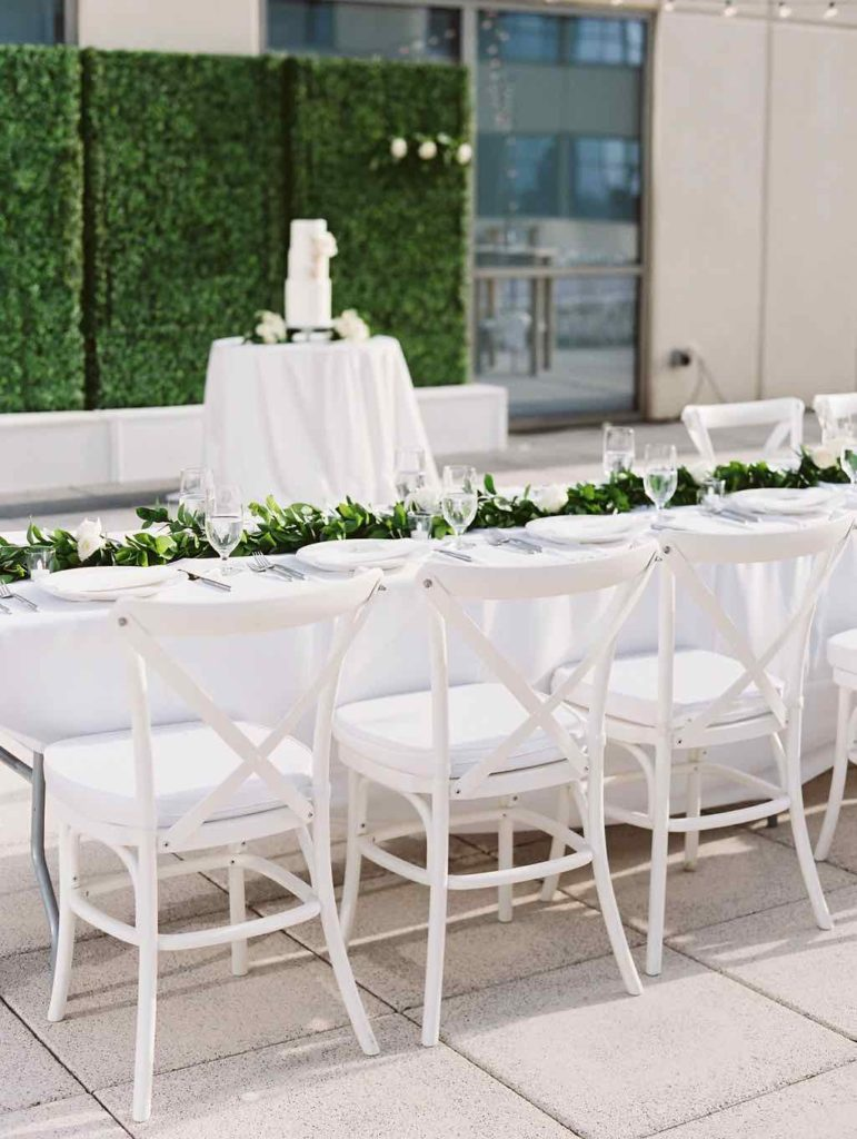 timeless Orlando wedding white French country chairs