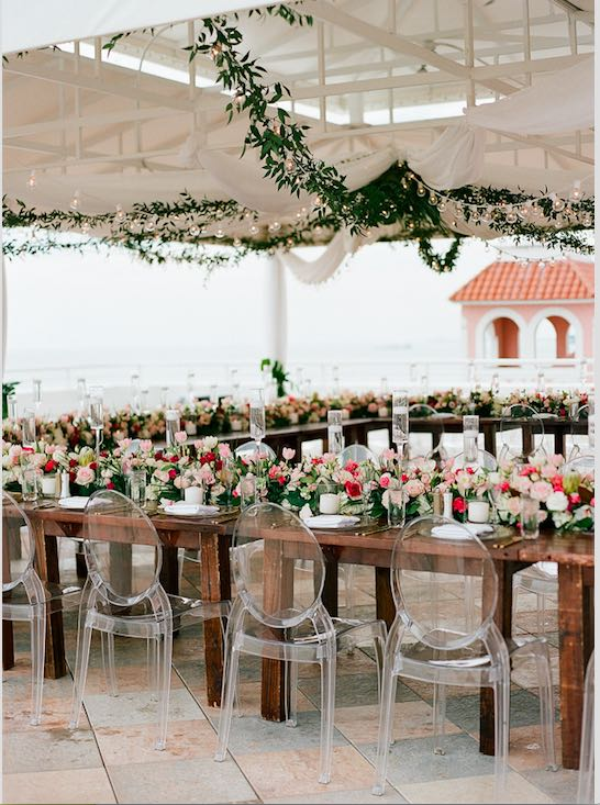 natural glam Don CeSar wedding, ghost chairs, specialty seating, specialty chairs