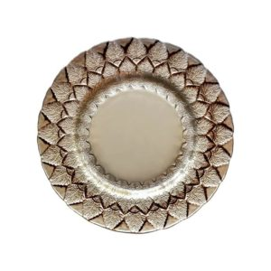 Beige & Brown Alpine Leaf Glass Charger
