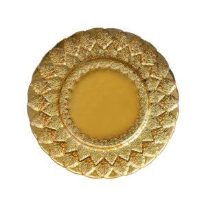 Gold Alpine Leaf Glass Charger