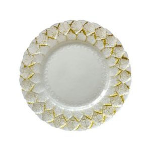 Gold & White Alpine Leaf Glass Charger