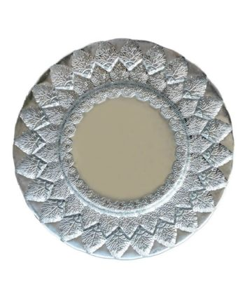 Silver & White Alpine Leaf Glass Charger