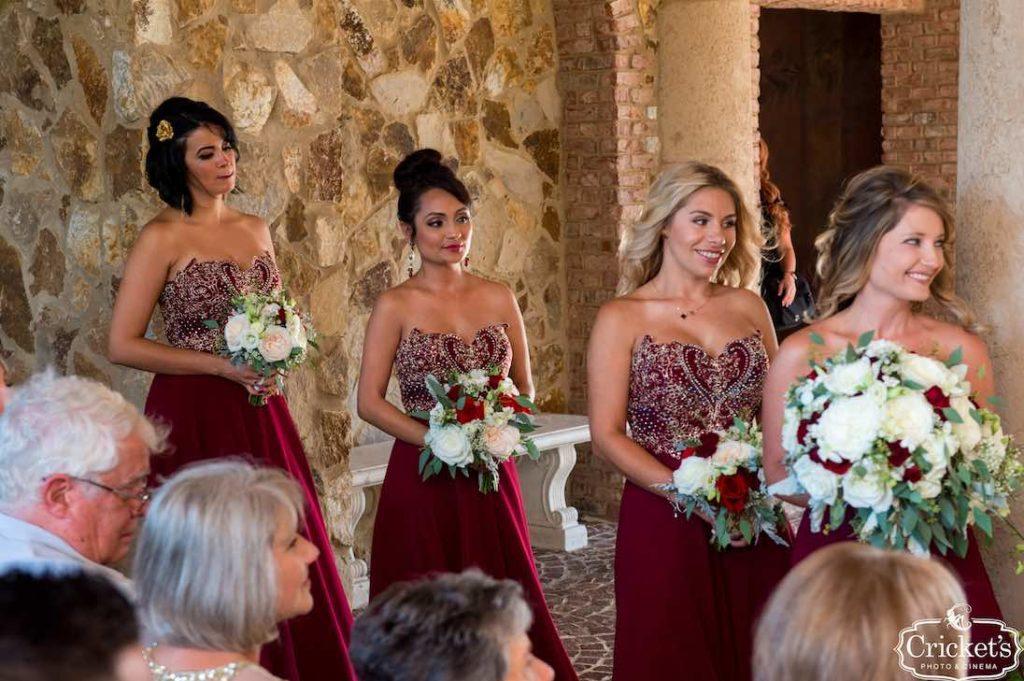 old and burgundy Bella Collina wedding
