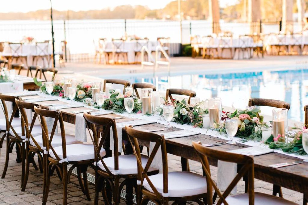 poolside Winter Park Racquet Club wedding