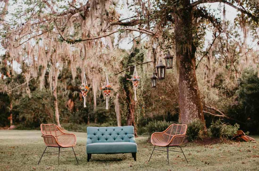 Lounge Furniture, Boho New Smyrna Beach Barn Wedding