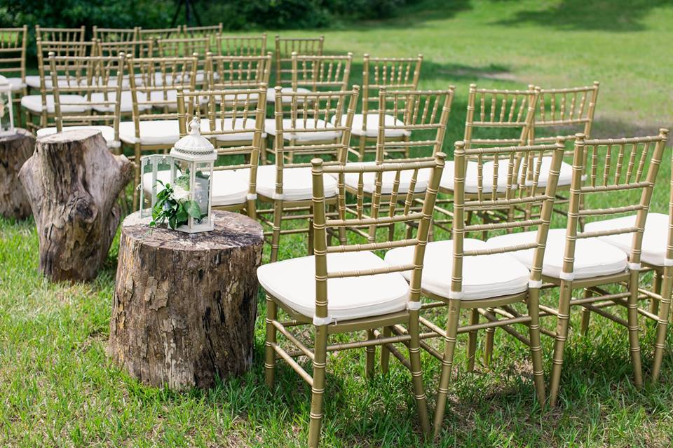 Romantic Wedding at the Mulberry A Chair Affair gold chiavari chairs ceremony
