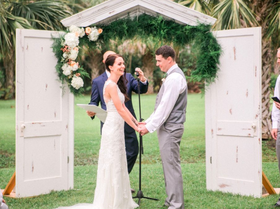 Romantic rose blush Banyan estate wedding