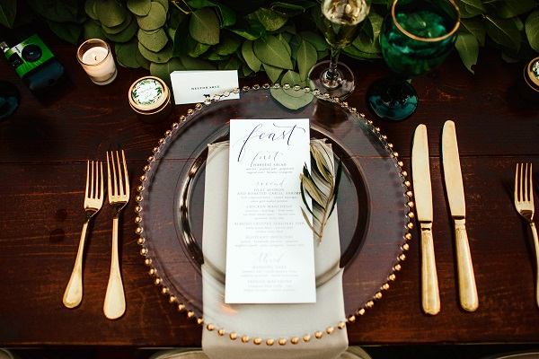 Casa-Feliz-Wedding-A-Chair-Affair -Farm-Tables-gold-chargers-gold-flatware