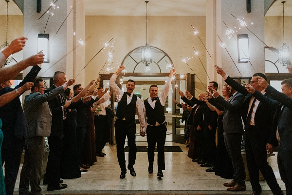 Alfond Inn-Wedding-A-Chair-Affair-LGBT-Wedding-Sparkler-Exit