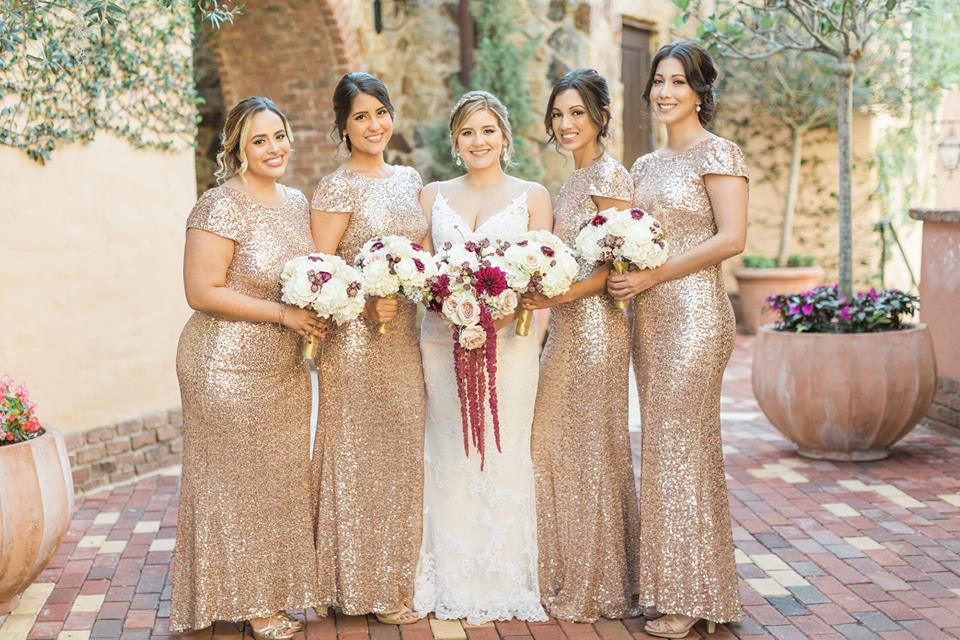 Gold Bella Collina Wedding A Chair Affair bridesmaids