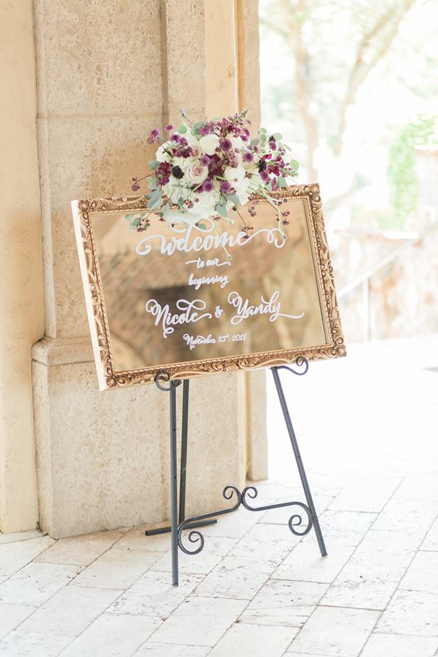 Gold Bella Collina Wedding A Chair Affair sign