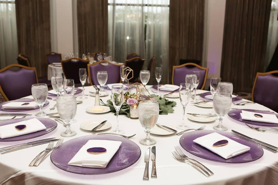 castle hotel wedding chair affair purple glitz glass charger