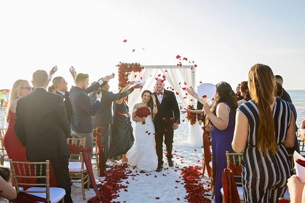 Marco Island, A Chair Affair, Romantic Red Beach Wedding, Emma Burdis Photo