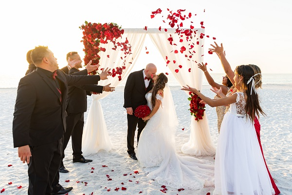Marco Island Romantic Red Beach Wedding