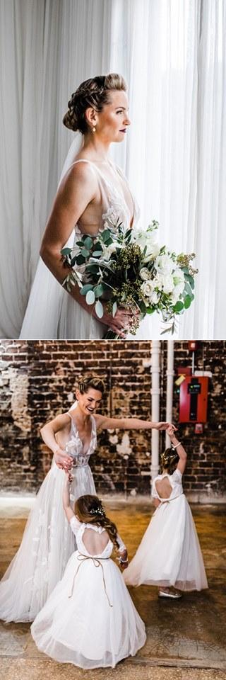 modern whimsical wedding The Rialto a chair affair bride flower girls