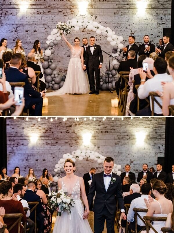 modern whimsical wedding The Rialto a chair affair ceremony exit