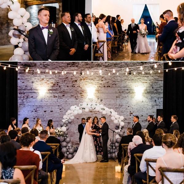 modern whimsical wedding The Rialto a chair affair ceremony