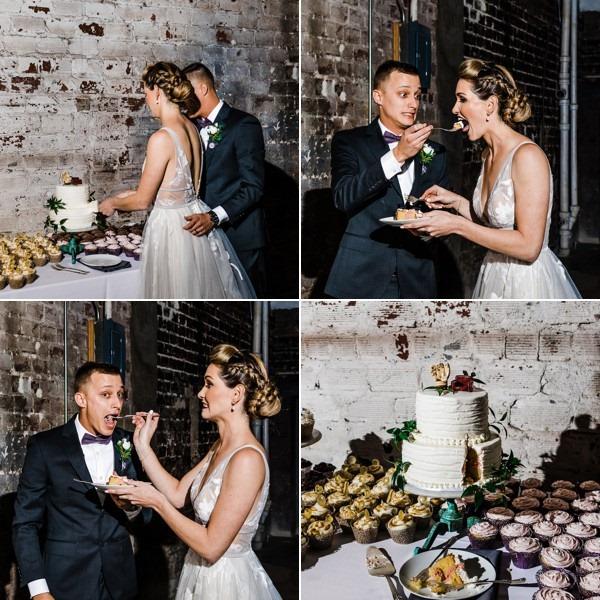 modern whimsical wedding The Rialto a chair affair couple cake