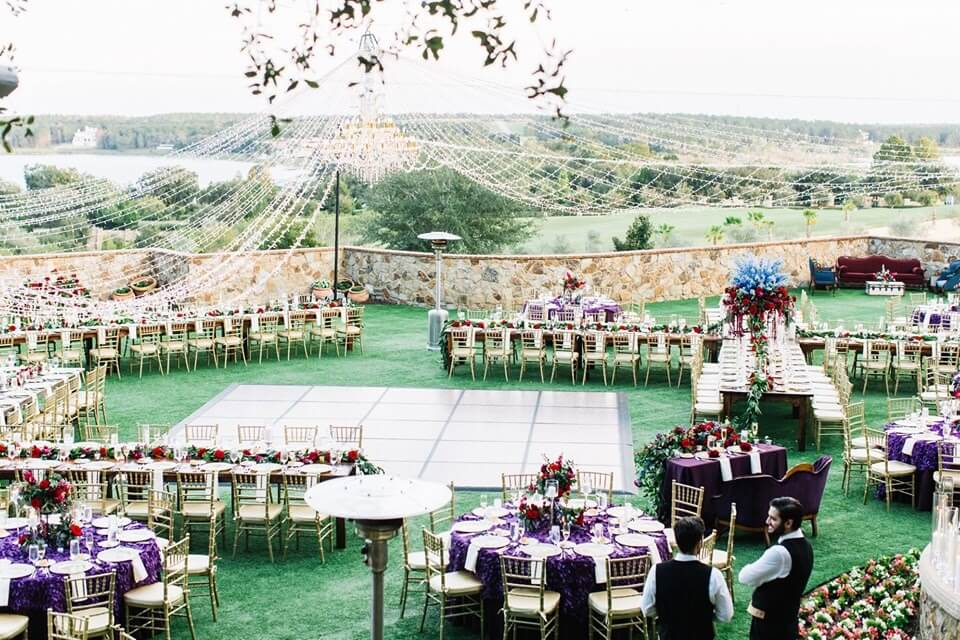 red and purple bella collina wedding chair affair