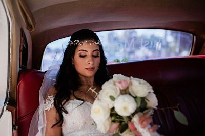 St. James Church elegant wedding bride vintage car