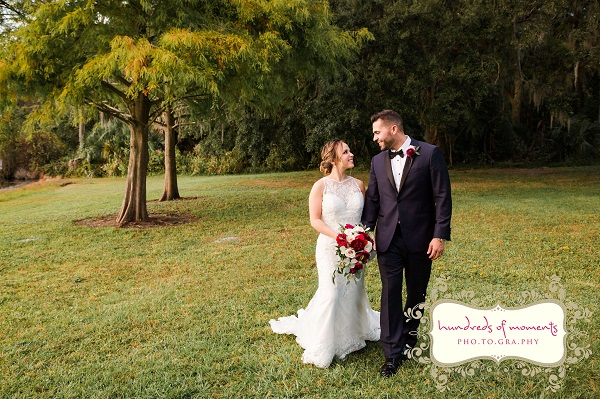 Lake Mary Events Center Burgundy and Gold Wedding
