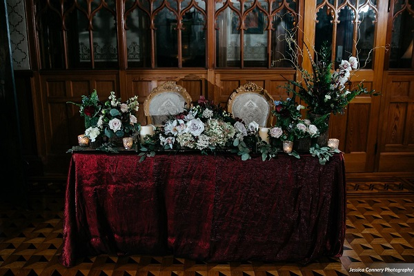 Stetson Mansion, Intimate LGBT Wedding styled shoot, Burgundy and gold wedding