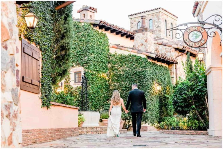 Bella Collina Bride and Groom Walking Away