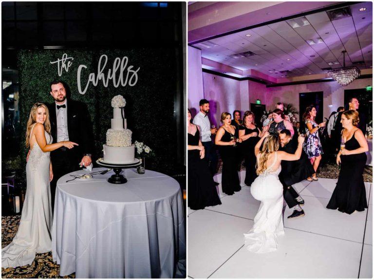 Bella Collina bride and groom cutting cake