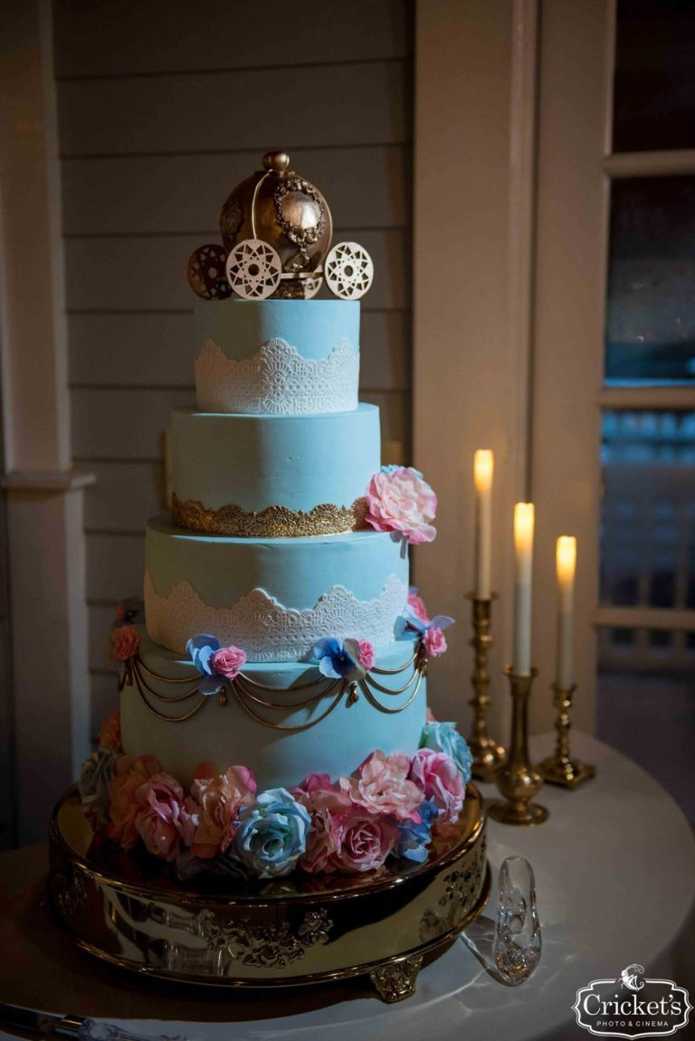 Fairy Tale Wedding Cake with Golden Carriage and Glass Slipper