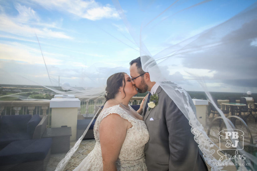 Bride and Groom Kissing Portrait under Veil