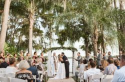 Perfect Paradise Cove Maroon and Gold Wedding