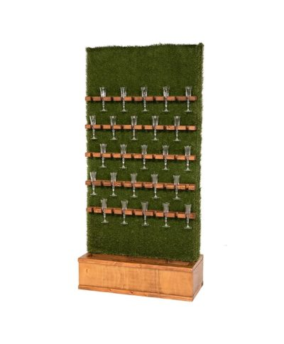 Champagne Grass Wall – Walnut Stain Base – A Chair Affair Rentals