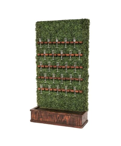 Champagne Hedge Wall – Mahogany Stain Base – A Chair Affair Rentals