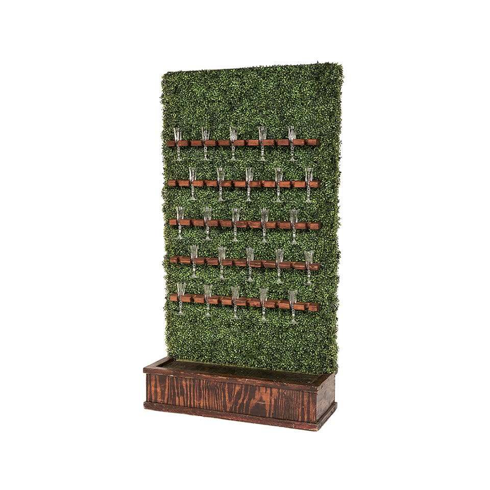 Champagne Hedge Wall - Mahogany Stain Base - A Chair Affair Rentals