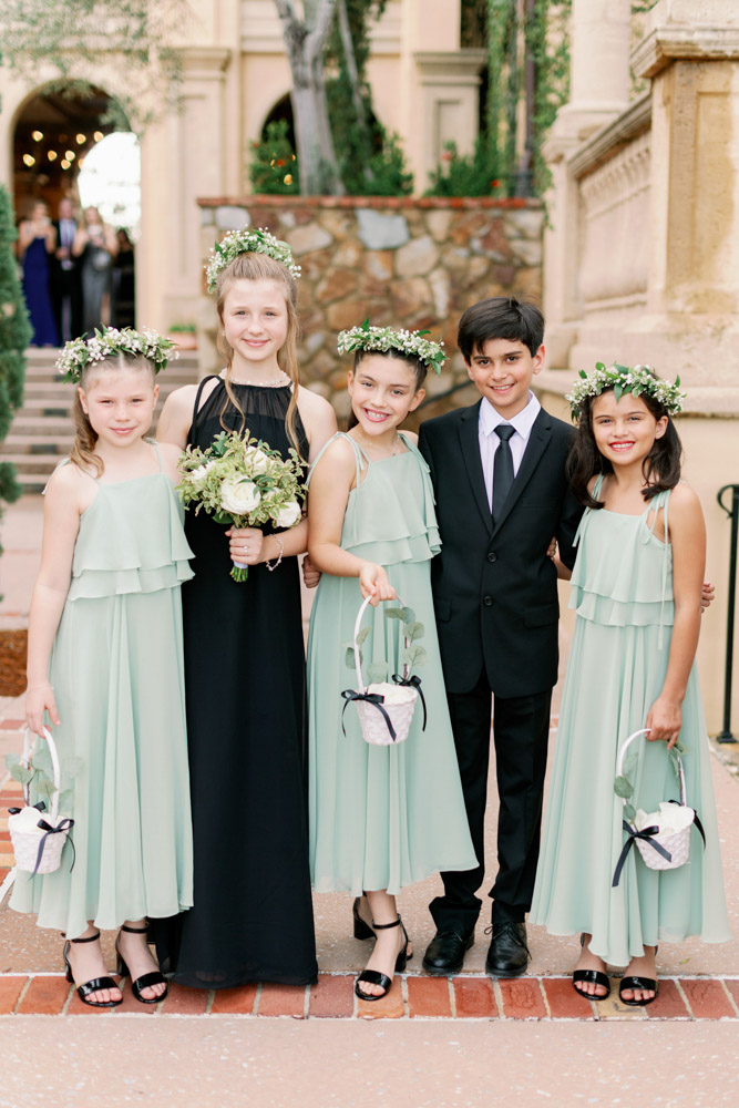Flower Girls in Green and Black